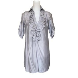 Arden B silver tunic shirt with front ruffles